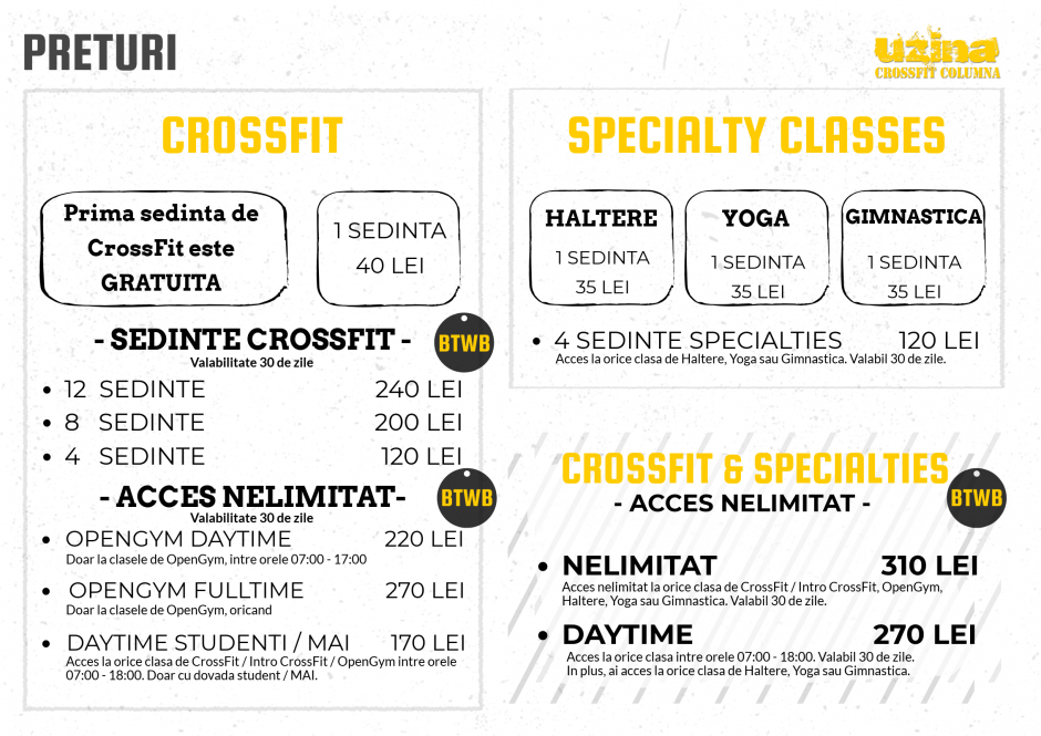 Preturi Uzina - Abonamente de CrossFit, Haltere, Gimnastica si Yoga