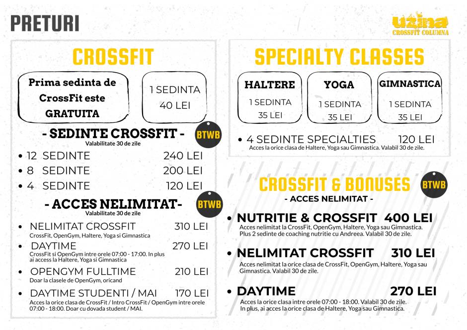 Preturi Uzina CrossFit Columna - abonament CrossFit, Haltere, Gimnastica si Yoga